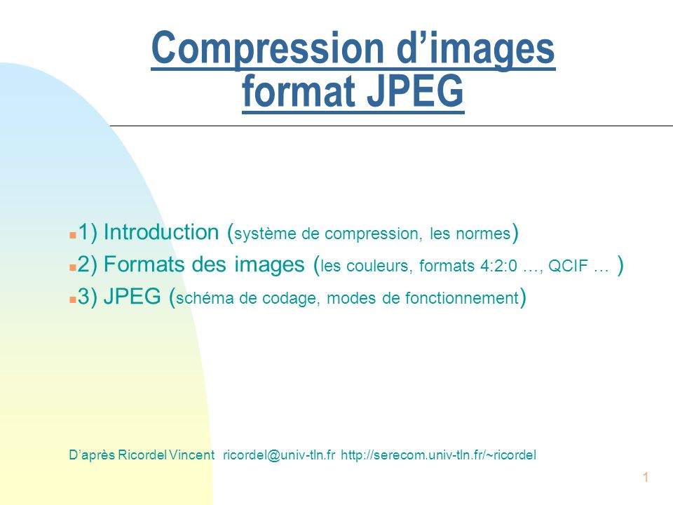Compression d'images format JPEG