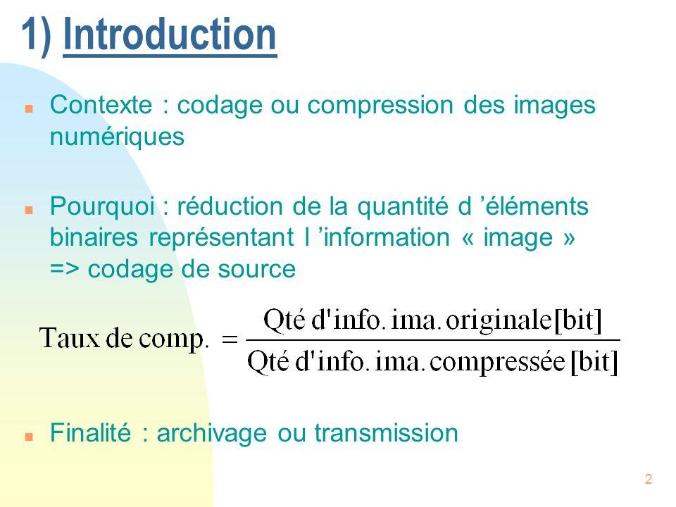 1) Introduction Contexte : codage ou compression des images numériques