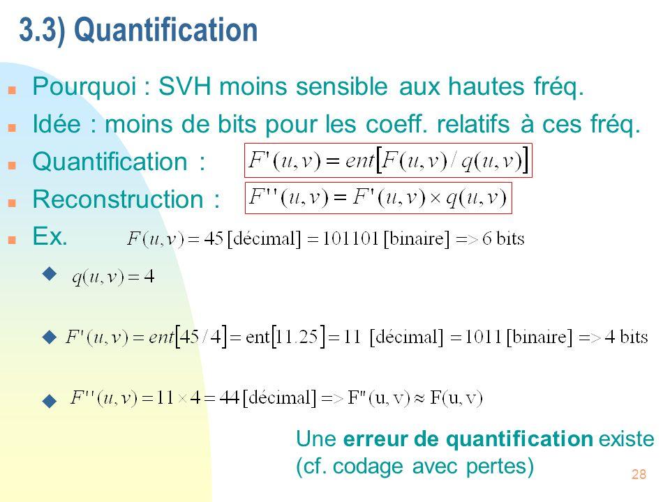 3.3) Quantification Pourquoi : SVH moins sensible aux hautes fréq.