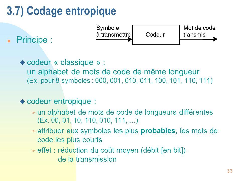 3.7) Codage entropique Principe :