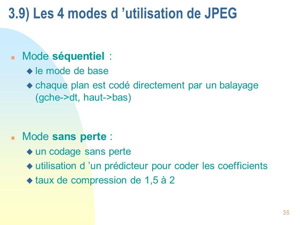 3.9) Les 4 modes d 'utilisation de JPEG