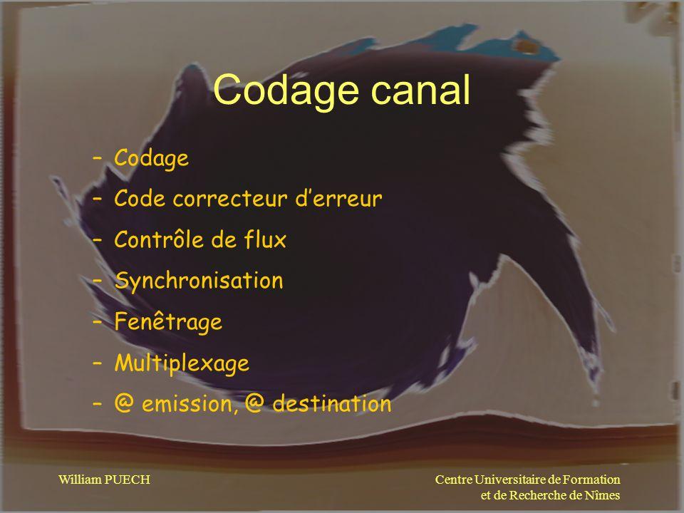 Codage canal Codage Code correcteur d'erreur Contrôle de flux