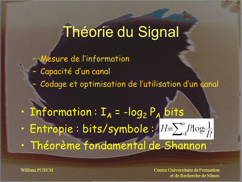 Théorie du Signal Information : IA = -log2 PA bits