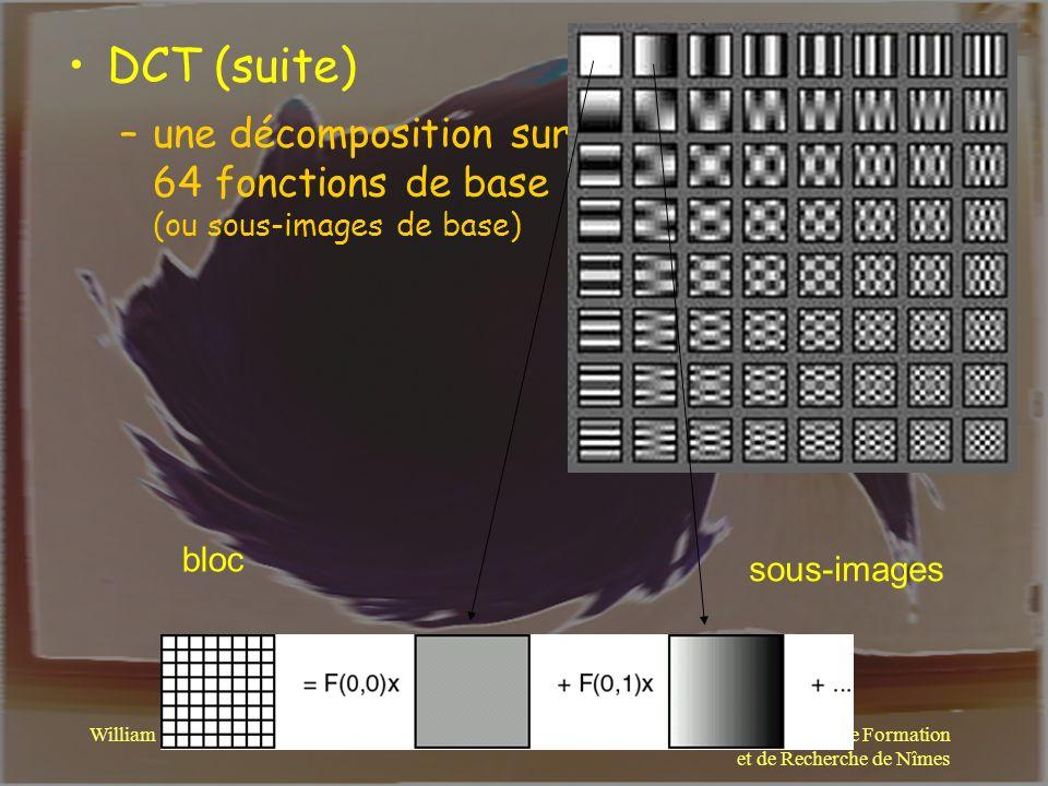 DCT (suite) une décomposition sur 64 fonctions de base (ou sous-images de base) bloc. sous-images.