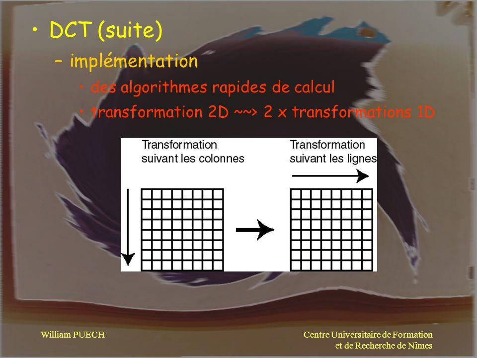 DCT (suite) implémentation des algorithmes rapides de calcul