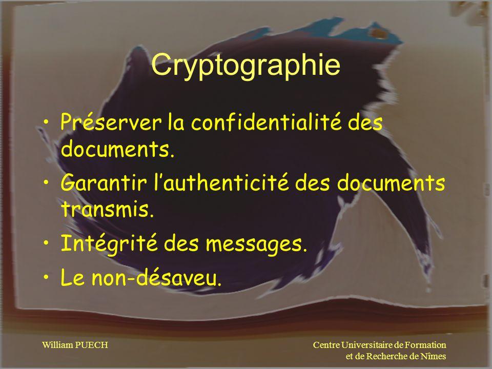 Cryptographie Préserver la confidentialité des documents.