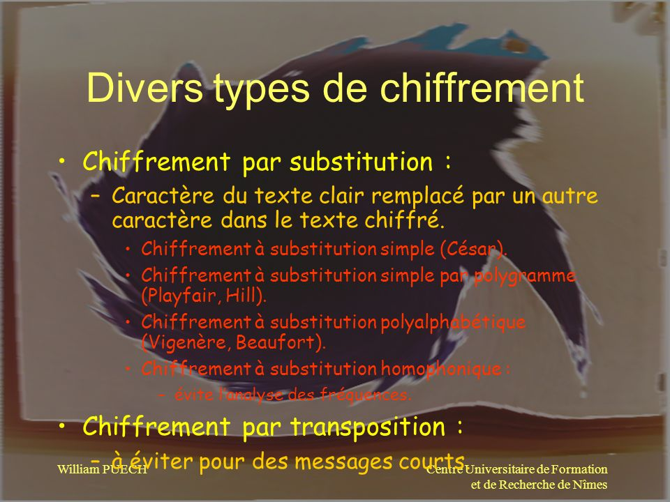 Divers types de chiffrement