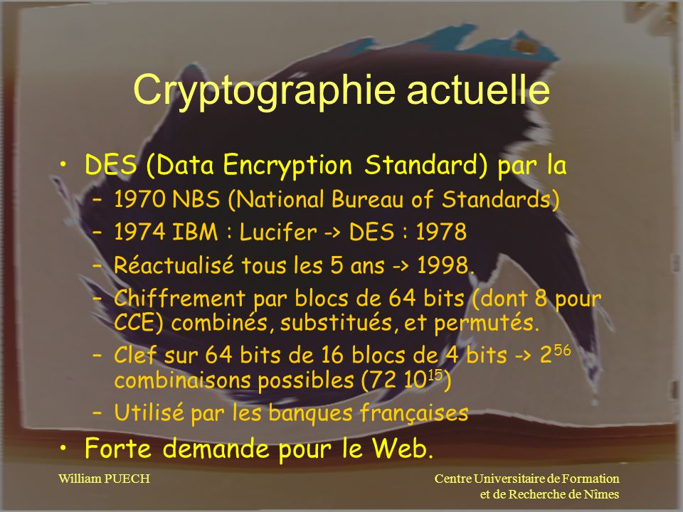 Cryptographie actuelle