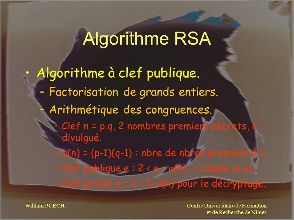 Algorithme RSA Algorithme à clef publique.