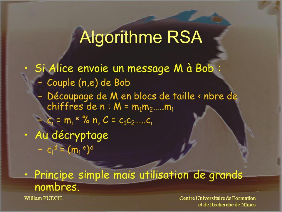 Algorithme RSA Si Alice envoie un message M à Bob : Au décryptage