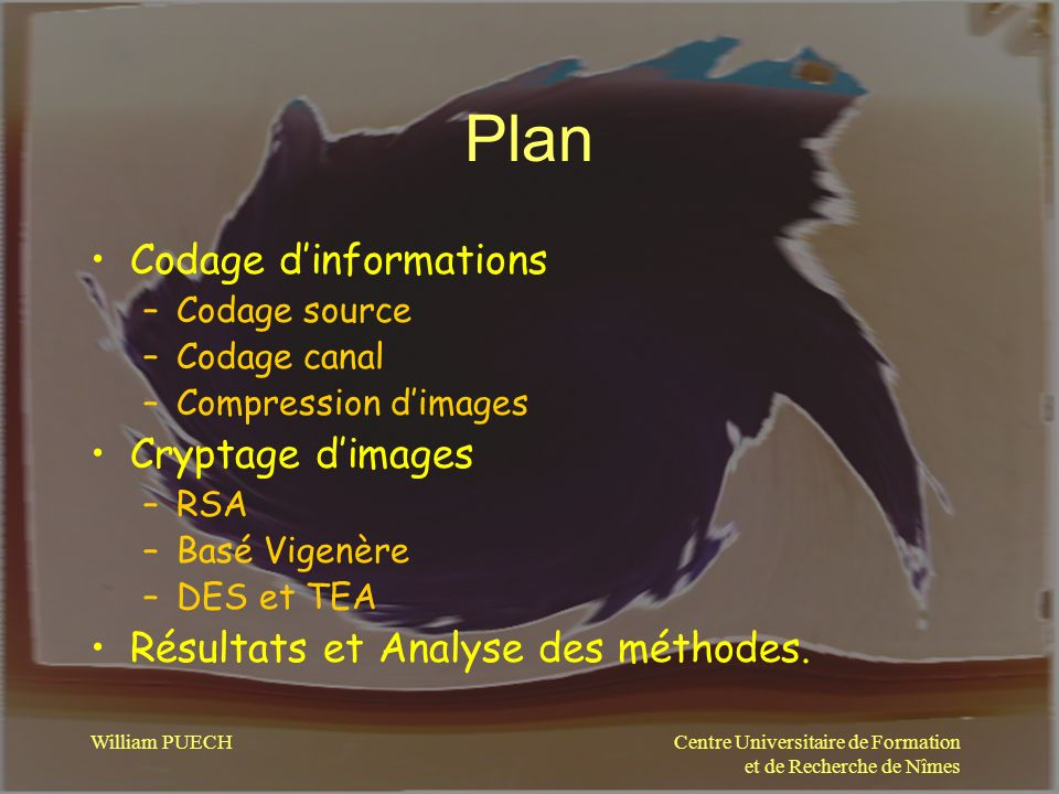 Plan Codage d'informations Cryptage d'images