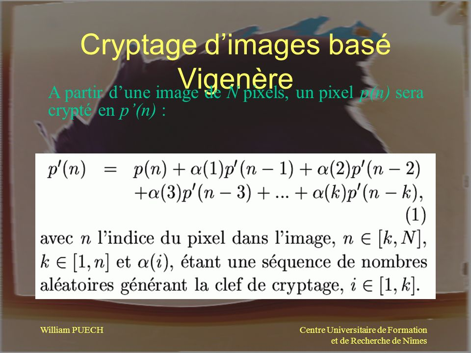Cryptage d'images basé Vigenère