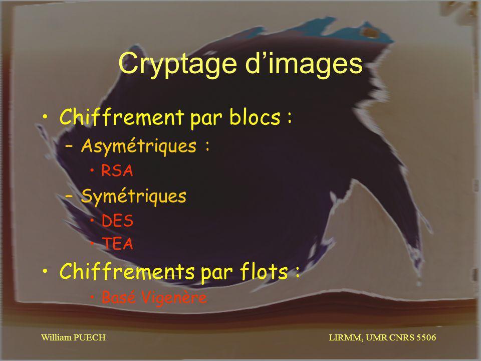 Cryptage d'images Chiffrement par blocs : Chiffrements par flots :
