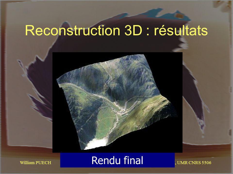 Reconstruction 3D : résultats