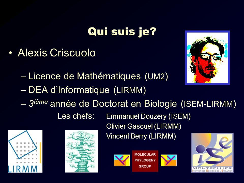Qui suis je Alexis Criscuolo Licence de Mathématiques (UM2)