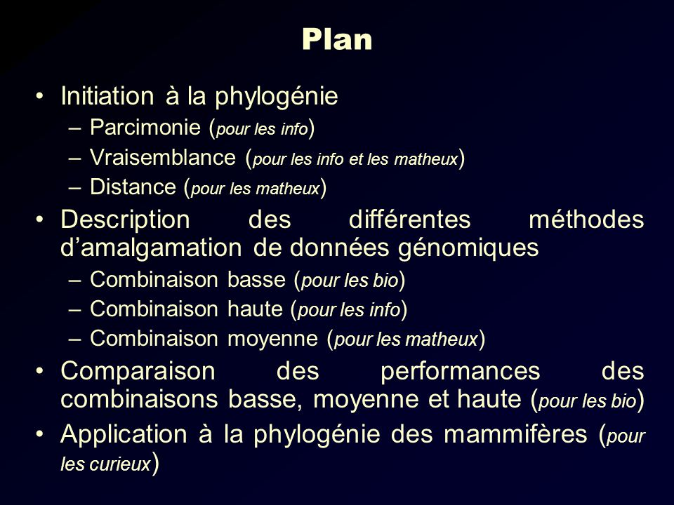 Plan Initiation à la phylogénie