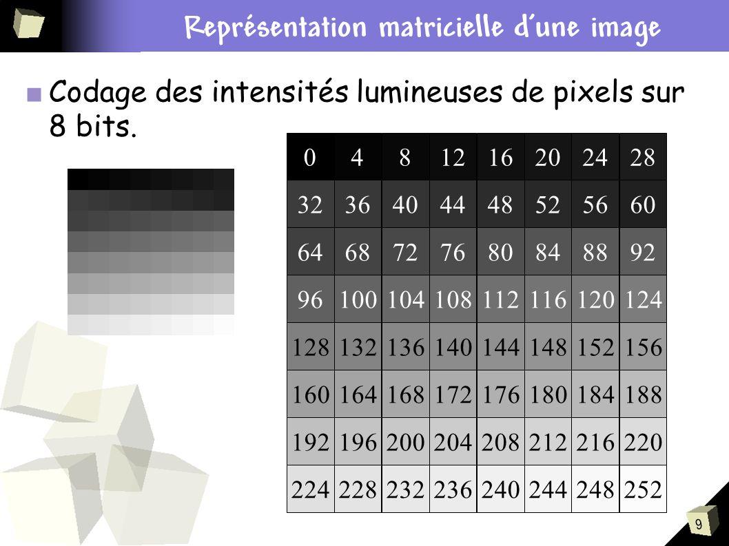 Contexte du stage Représentation matricielle d'une image