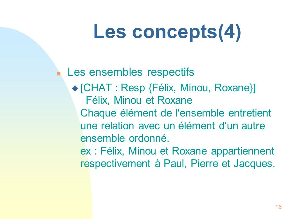 Les concepts(4) Les ensembles respectifs