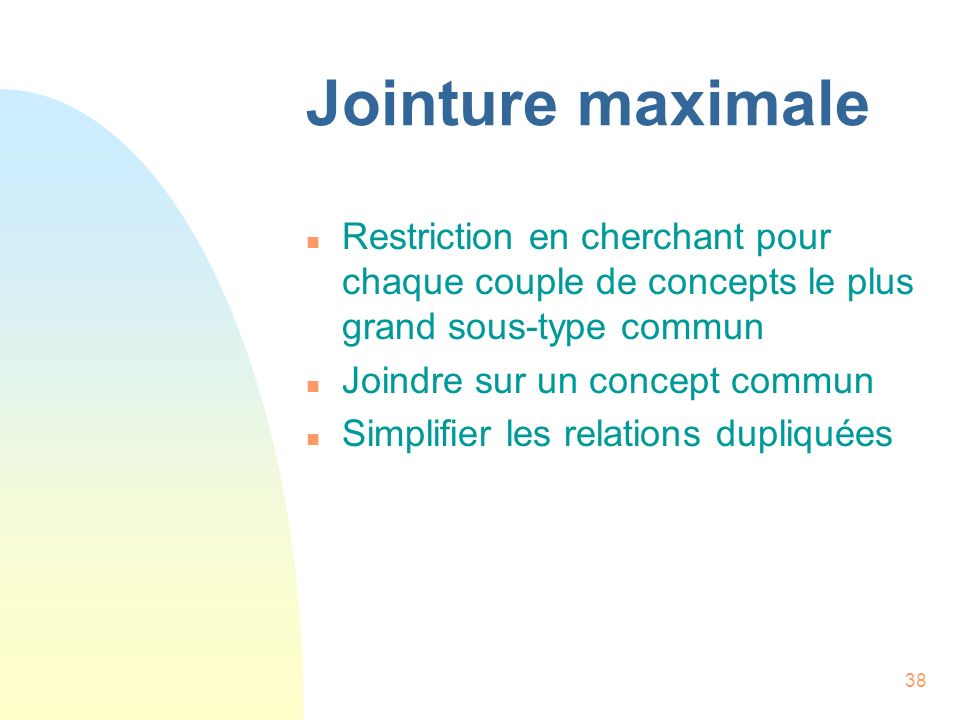 Jointure maximale Restriction en cherchant pour chaque couple de concepts le plus grand sous-type commun.