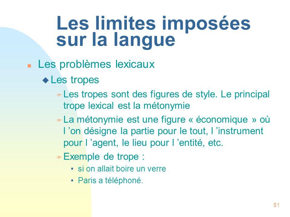 Les limites imposées sur la langue