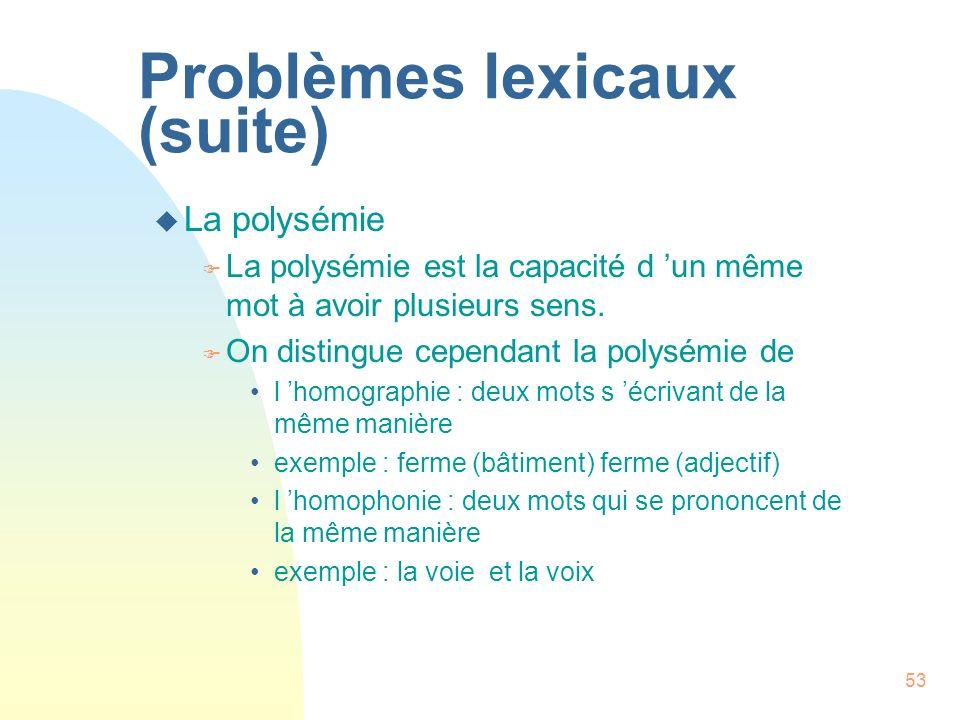 Problèmes lexicaux (suite)