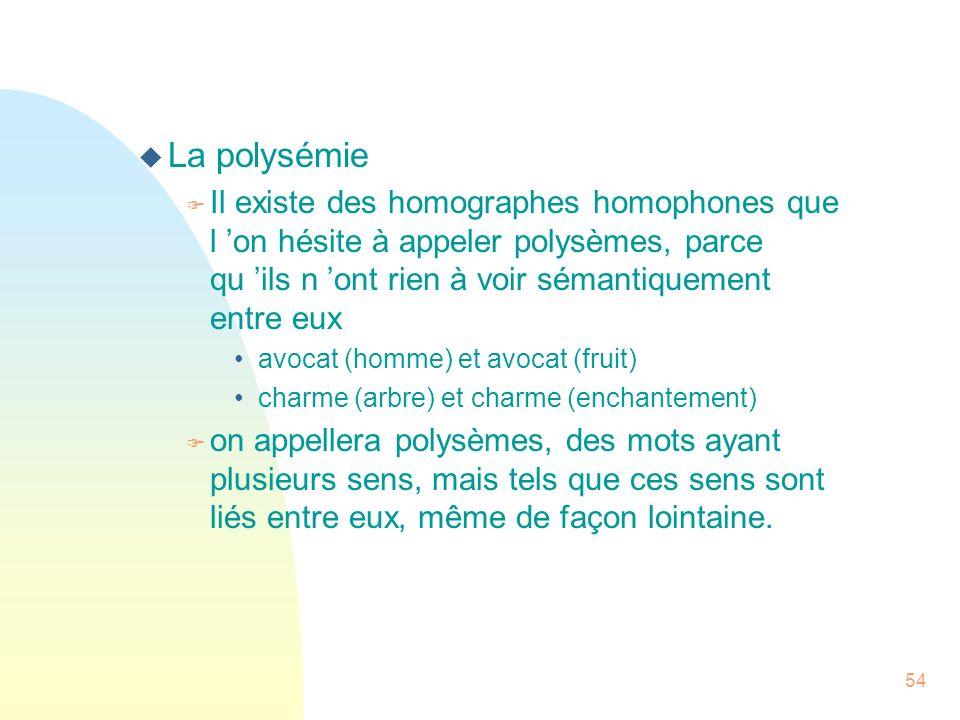 La polysémie Il existe des homographes homophones que l 'on hésite à appeler polysèmes, parce qu 'ils n 'ont rien à voir sémantiquement entre eux.