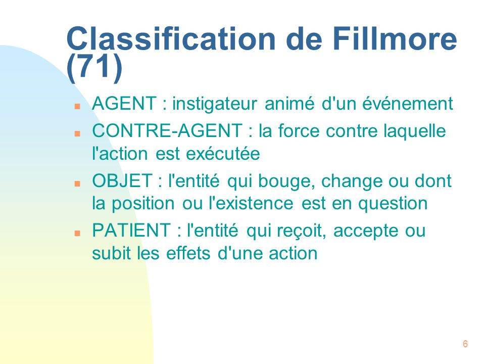 Classification de Fillmore (71)