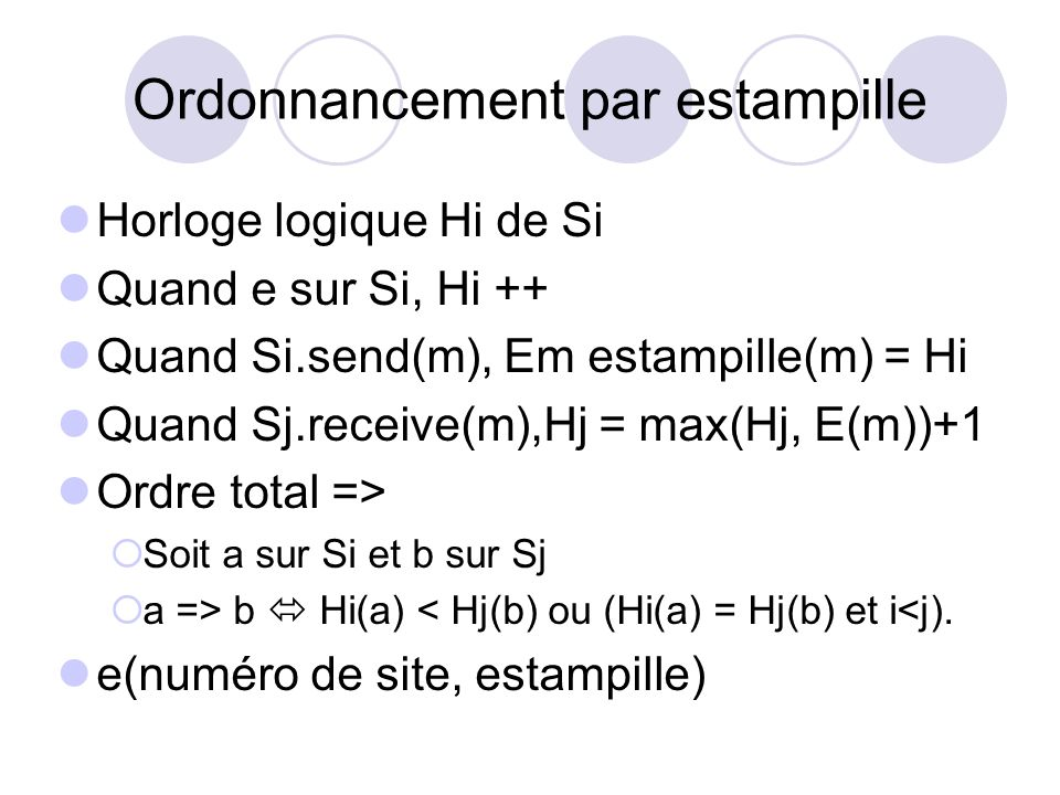 Ordonnancement par estampille
