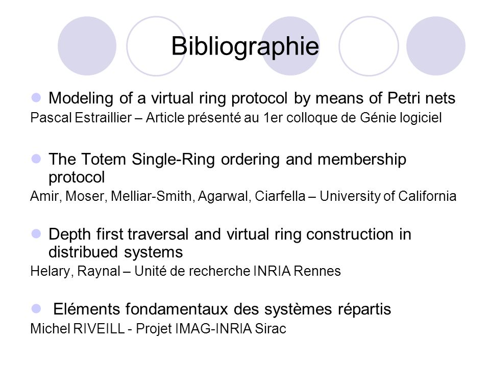 Bibliographie Modeling of a virtual ring protocol by means of Petri nets. Pascal Estraillier – Article présenté au 1er colloque de Génie logiciel.
