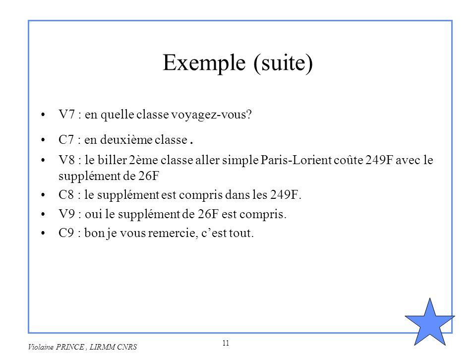 Exemple (suite) V7 : en quelle classe voyagez-vous