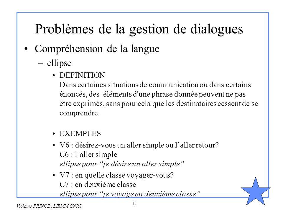 Problèmes de la gestion de dialogues