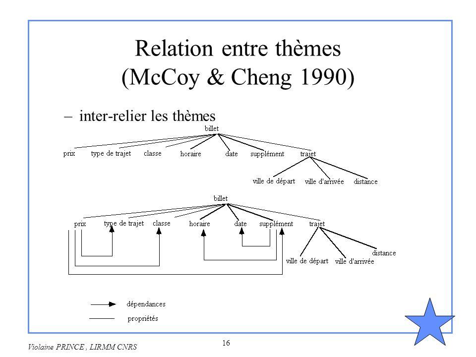 Relation entre thèmes (McCoy & Cheng 1990)