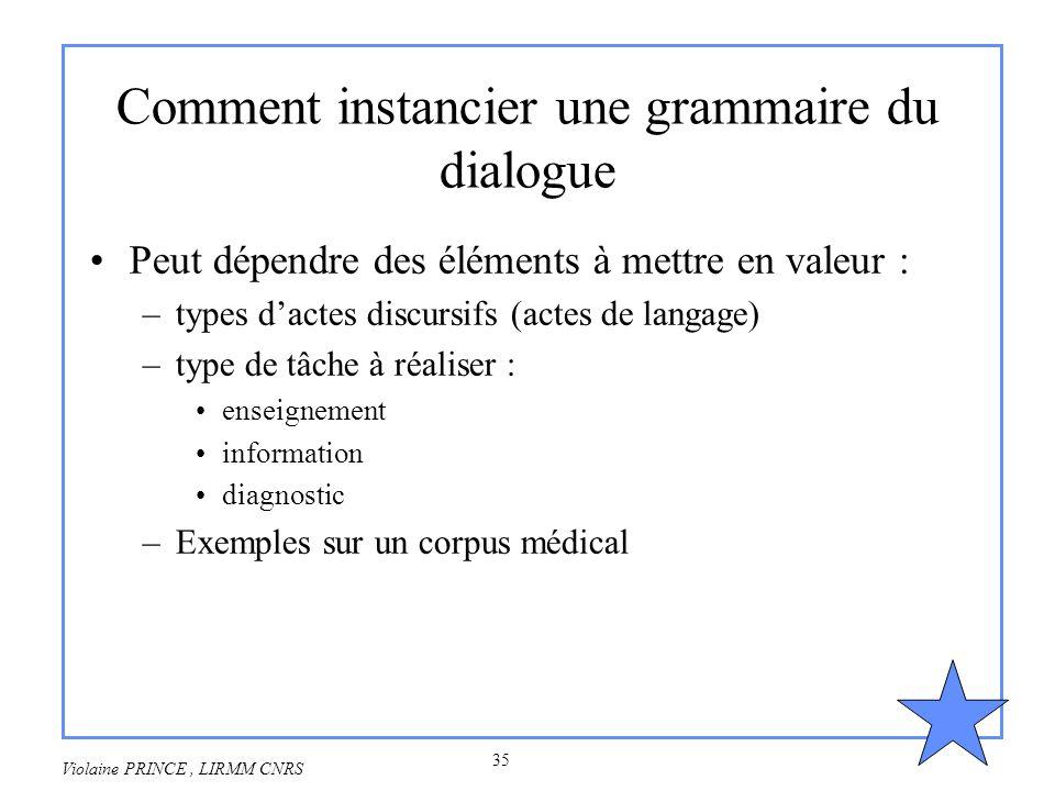 Comment instancier une grammaire du dialogue