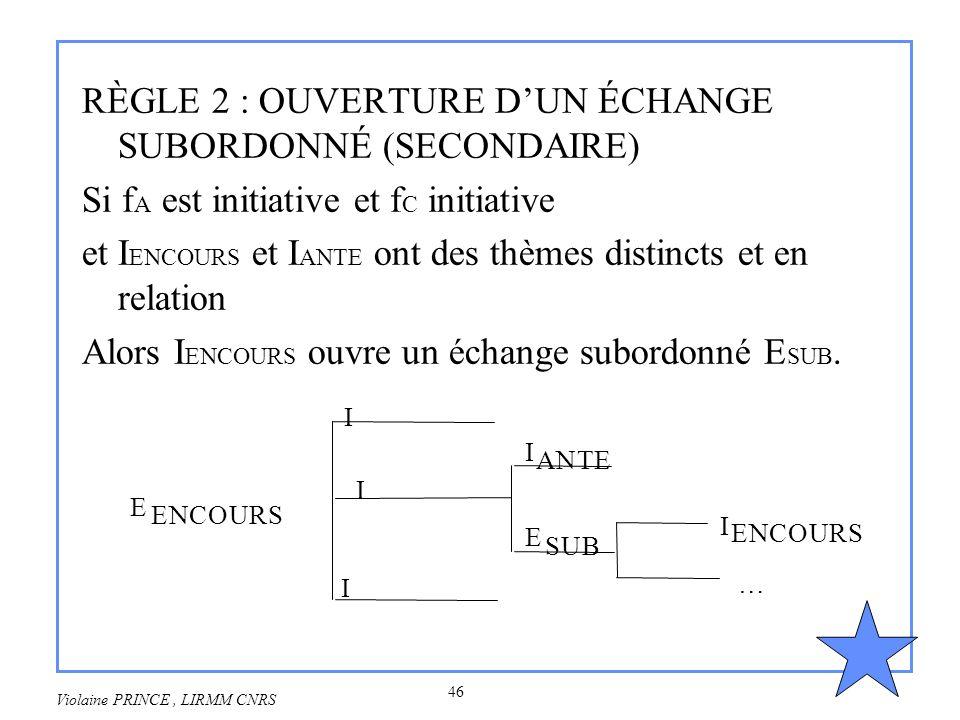 RÈGLE 2 : OUVERTURE D'UN ÉCHANGE SUBORDONNÉ (SECONDAIRE)