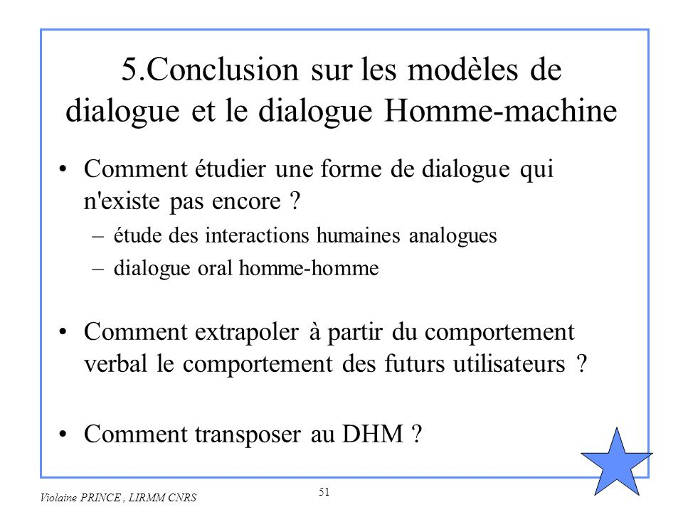 5.Conclusion sur les modèles de dialogue et le dialogue Homme-machine