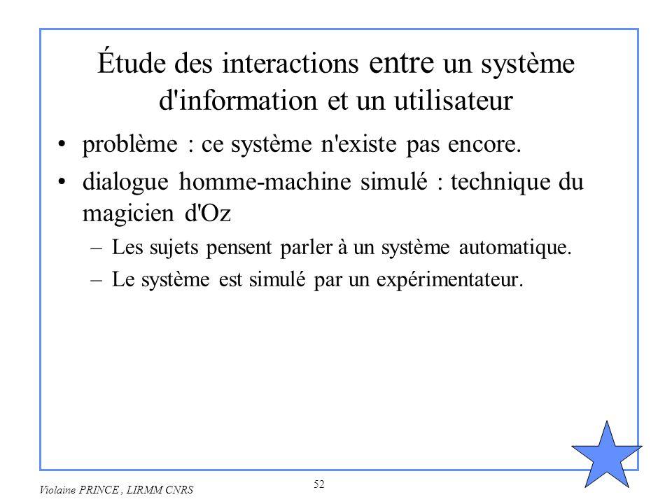 Étude des interactions entre un système d information et un utilisateur