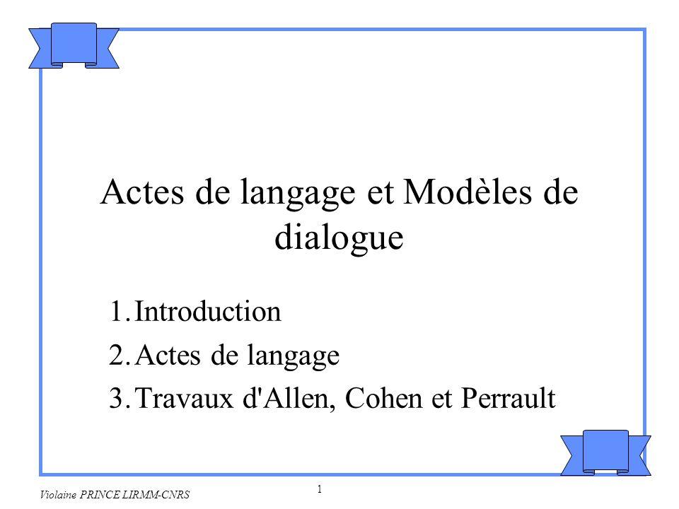 Actes de langage et Modèles de dialogue
