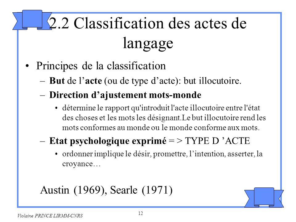 2.2 Classification des actes de langage