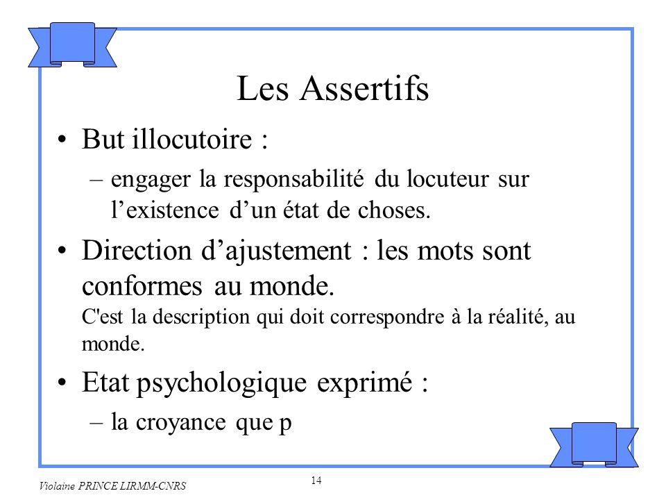 Les Assertifs But illocutoire :