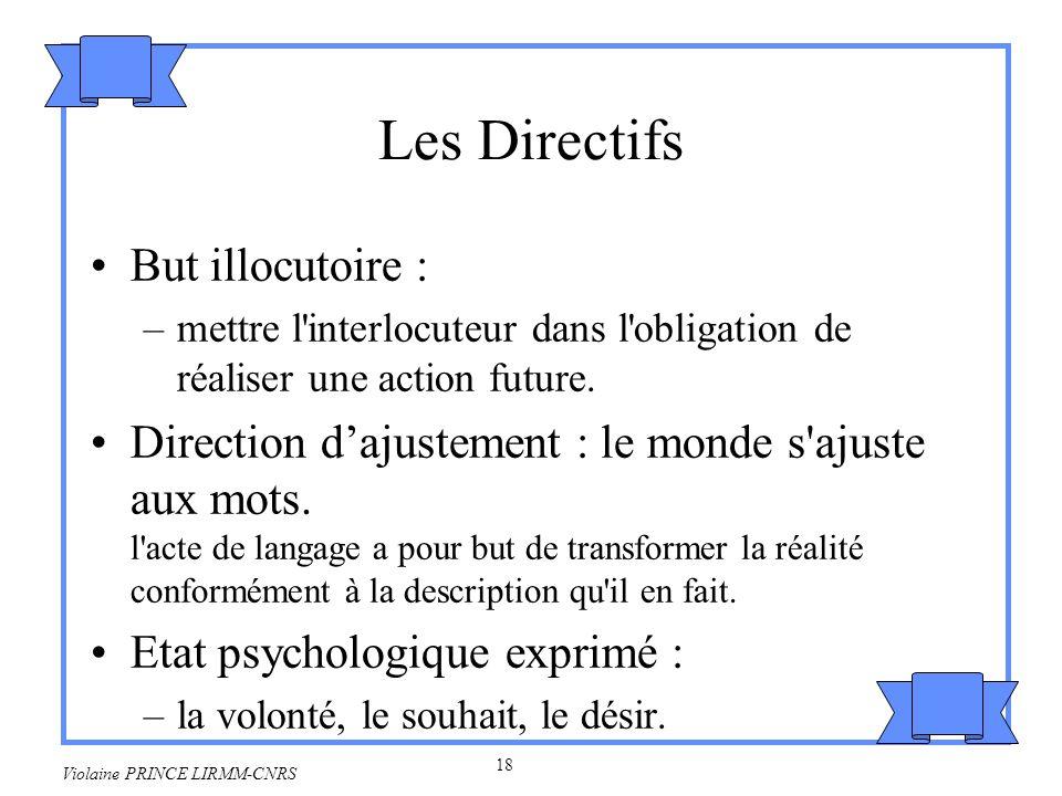 Les Directifs But illocutoire :
