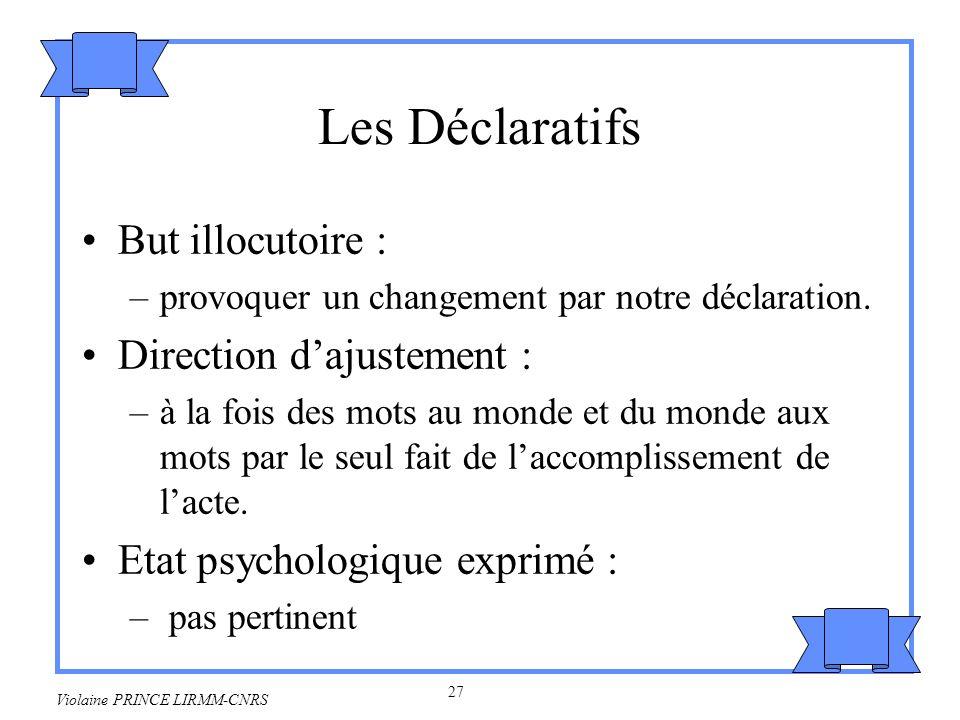 Les Déclaratifs But illocutoire : Direction d'ajustement :