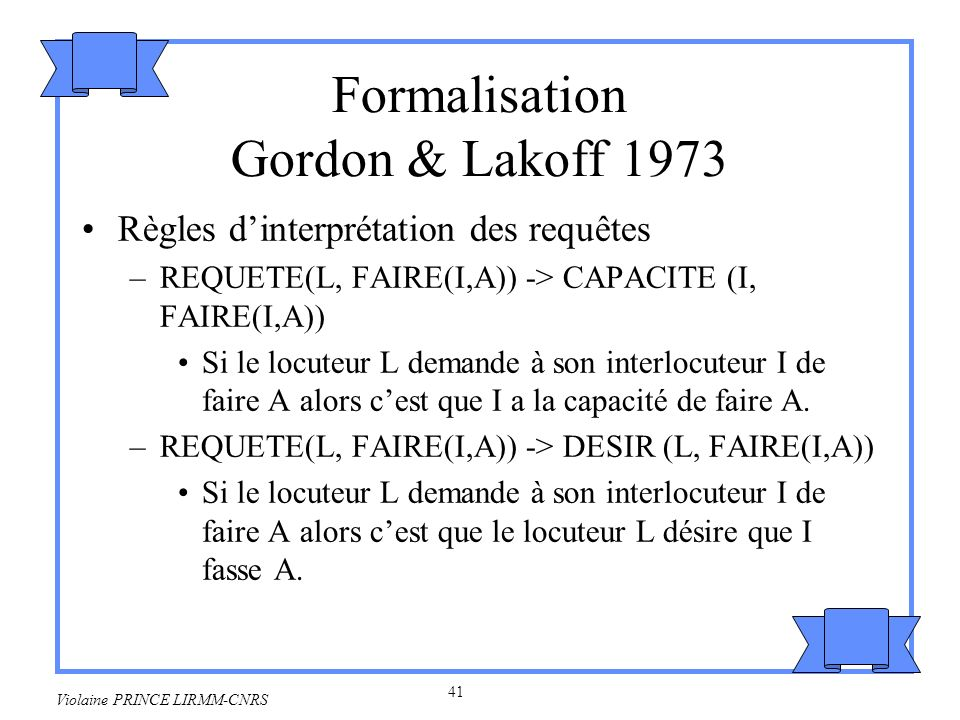 Formalisation Gordon & Lakoff 1973