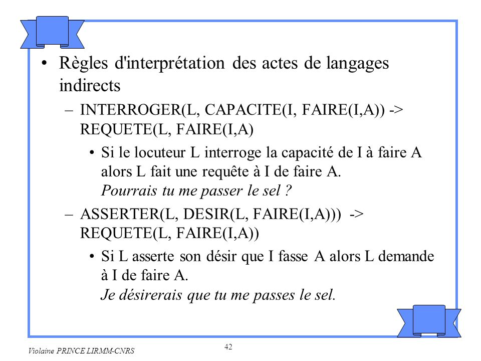 Règles d interprétation des actes de langages indirects