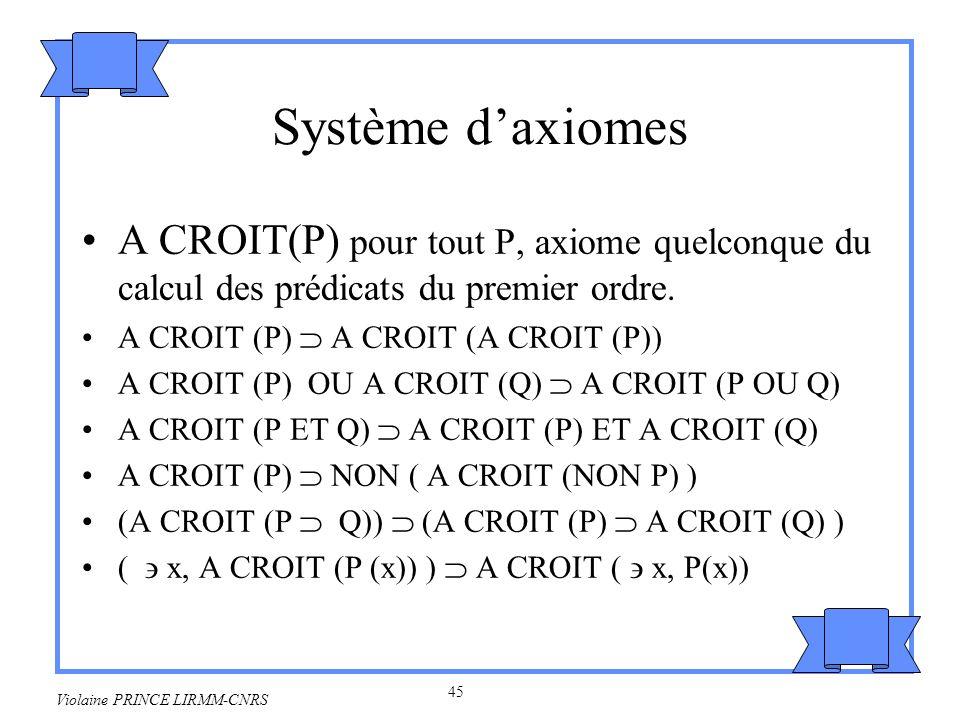 Système d'axiomesA CROIT(P) pour tout P, axiome quelconque du calcul des prédicats du premier ordre.
