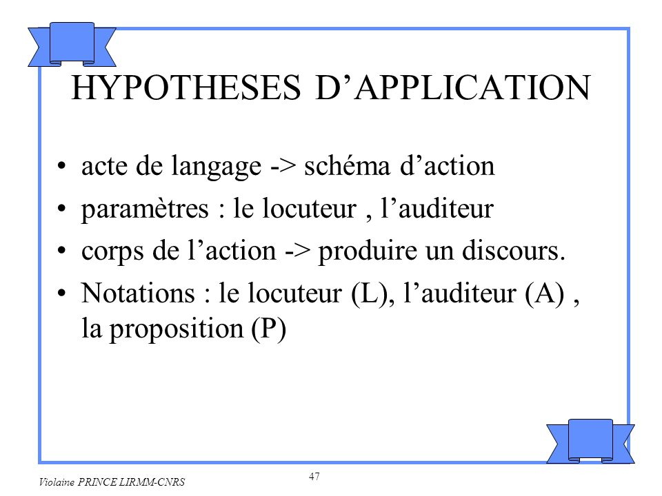 HYPOTHESES D'APPLICATION