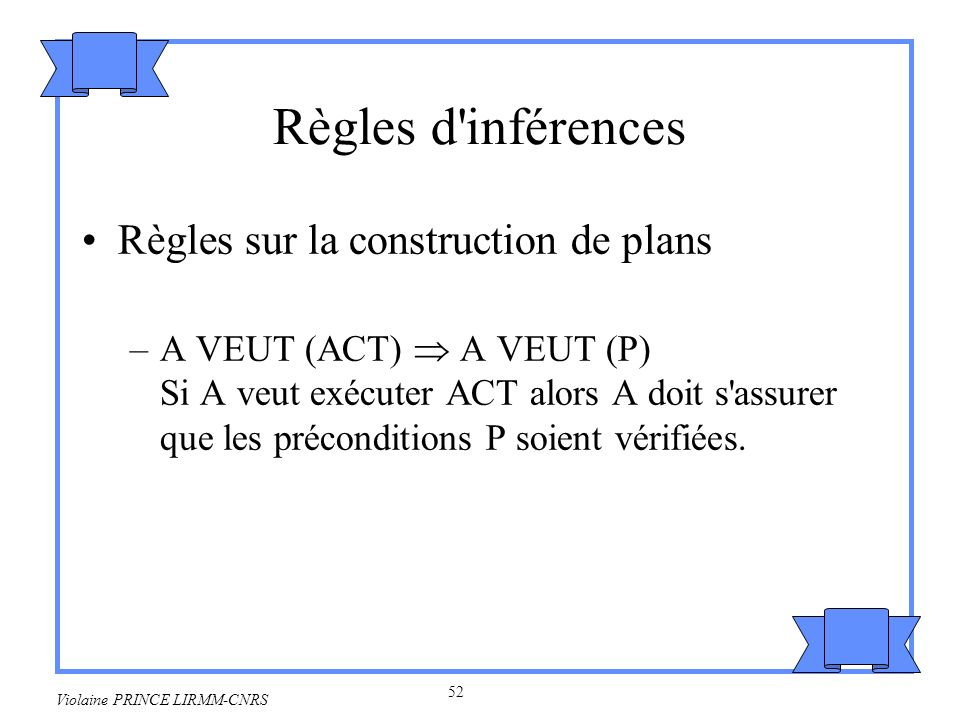Règles d inférences Règles sur la construction de plans