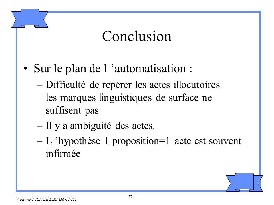 Conclusion Sur le plan de l 'automatisation :