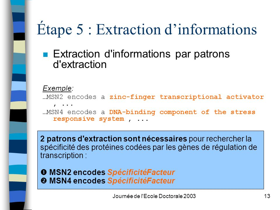 Étape 5 : Extraction d'informations