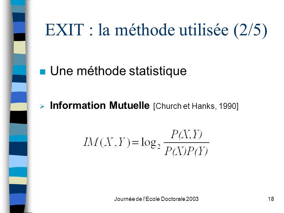 EXIT : la méthode utilisée (2/5)