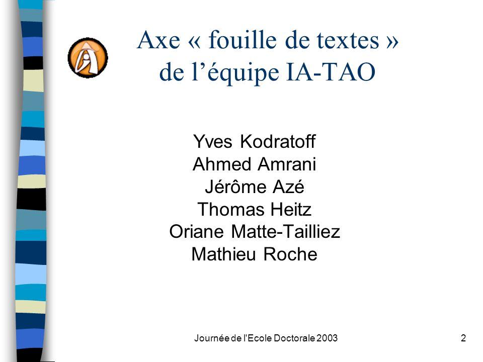 Axe « fouille de textes » de l'équipe IA-TAO